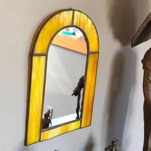Vintage Stained Glass Wall Mirror